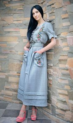 "Linen embroidered dress ""may day"" - buy or order in an online shop on Livemaster - Modest Fashion, Hijab Fashion, Boho Fashion, Fashion Dresses, Vintage Fashion, Womens Fashion, Fashion Design, Embroidery Fashion, Embroidery Dress"