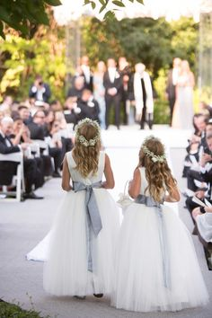 Flower Girls with Grey Sashes Crowns