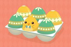 There's something suspicious about this tray of decorated eggs. Happy Easter : ) More pics here. Easter Quotes Images, Easter Illustration, Kawaii, Cute Doodles, Egg Decorating, Cute Images, Character Drawing, Happy Easter, Easter Eggs