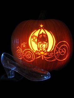 Cinderella And Prince Charming Pumpkin Carving