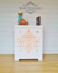 Modern Pastel Stenciled Damask Chest Of Drawers  by RawRevivals, $200.00 furniture Diy Furniture redo