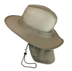 Safari Mesh Bucket Boonie with Neck Flap and Drawstring Khaki 759a7563e38