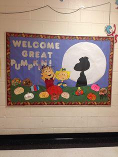 My fall bulletin board. It's the great pumpkin, Charlie Brown!