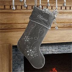 Personalized Christmas Stockings - for the living room.old ones on the banister Silver Christmas Stocking, Diy Christmas Ornaments, Felt Christmas, Winter Christmas, Christmas Ideas, Holiday Ideas, Christmas Decorations, Xmas Crafts, Holiday Decorating