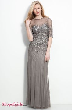 Gorgeous Column Sequins Beading Grey Chiffon Inexpensive Mother of the Bride Dresses Under 200 MBD-4862