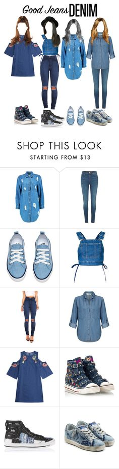 """""""Head To Toe Denim"""" by official-4squad ❤ liked on Polyvore featuring Boohoo, River Island, G.V.G.V., Vibrant, Miss Selfridge, Ash, Diesel and Golden Goose"""