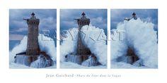 Phare du Four Dans la Vague Prints by Jean Guichard - by AllPosters. Costa, Framed Artwork, Wall Art, Kunst Poster, Poster Prints, Art Prints, Cool Posters, Landscape Art, Frames