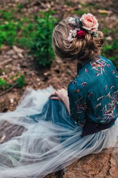 Button down shirt dark blue green white tulle wedding dress