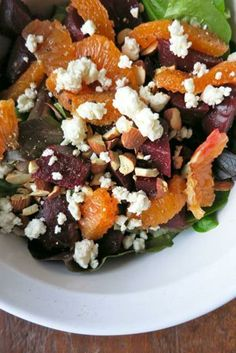 """Beets and Oranges with Feta and Almonds, and a Tangy Vinaigrette. """"Your new favorite salad."""""""