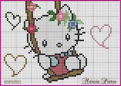 Altalena Cross Stitch Baby, Cross Stitch Charts, Cross Stitch Patterns, Hand Embroidery Stitches, Cross Stitch Embroidery, Embroidery Patterns, Hello Kitty, Pixel Crochet Blanket, Stitch Character
