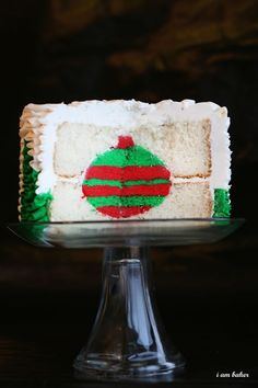 And there you have it... A Christmas Tree Red and Green Ornament Inside Cake!