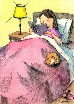 Original art paintings from the Daily Painters Gallery. Bedtime Reading, Reading Art, Girl Reading, Children Reading, Daily Painters, Lectures, I Love Books, Cat Art, Book Worms