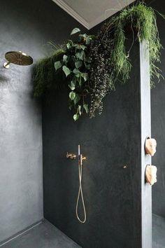 bathroom - cascading plants in planter trough built into dividing wall | Vogue Australia