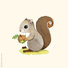 S is for Squirrel E comme Écureuil  Print of an original watercolor illustration by me.  My prints are archival, fade-resistant and with vivid colors and