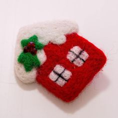 Christmas house New Year Wool brooch Christmas natural Felt Christmas Decorations, New Years Decorations, Christmas Crafts, New Year Gifts, Xmas Gifts, Christmas Is Coming, Christmas And New Year, Small Gift Boxes, New Year Holidays