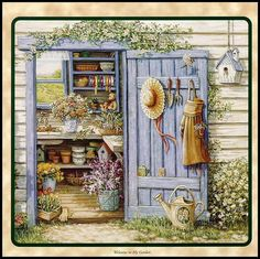 Garden Shed by Janet Kruskamp flowers art country garden painting prim illustration shed janet kruskramp Garden Painting, Garden Art, Garden Sheds, Painting Prints, Canvas Prints, Art Prints, Canvas Art, Arte Country, Creation Photo
