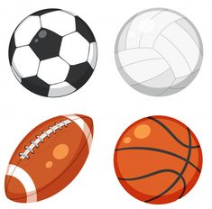 Set of ball on white background Free Vector Free Football, Sport Football, Sports Shoes For Girls, Background Eraser, Type Illustration, Sports Birthday, Backgrounds Free, Vector Free, Freepik Vector