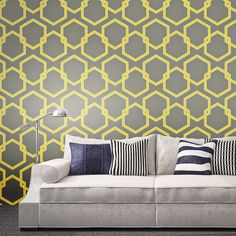 Honeycomb Self Adhesive Wallpaper in Citron design by Tempaper