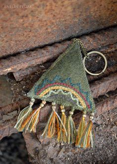 Textile keychain with embroidery bronze by EnelinPedak on Etsy, €15.00