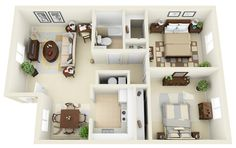 Two bedroom apartments are ideal for couples and small families alike. As one of the most common types of homes or apartments available, two bedroom spaces give just enough space for efficiency yet offer more comfort than a smaller one bedroom or studio. In this post, we'll show some of our favorite two bedroom apartment … 2 Bedroom House Design, 2 Bedroom Floor Plans, House Design Pictures, Bedroom Flooring, Simple Life Hacks, Picture Design, Home Design Photos