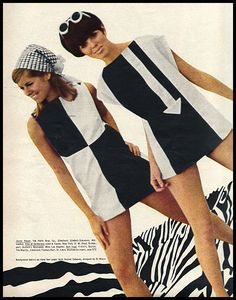 dresses are examples of mod fashion from the The mod look was very youthful and used a lot of crisp lines and geometric shapes. Dresses were short and bright. Mary Quant designed a lot of dresses that fit into this style. 1960s Mod Fashion, Sixties Fashion, Vintage Fashion, 1960s Fashion Dress, Style Année 60, Mode Style, 1960s Style, London Stil, Vintage Outfits