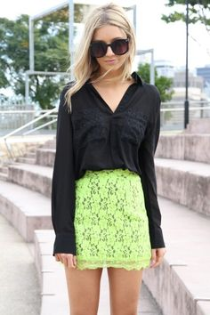 Lime Lace Skirt
