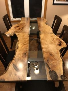 Live Edge Table Reversed - Wood How to Crafts Wood Slab Table, Wood Resin Table, Wood Table Design, Live Edge Tisch, Live Edge Table, Bancada Epoxy, Mesa Live Edge, Epoxy Table Top, Resin Furniture