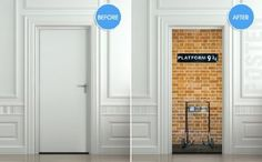 "Great idea for a door to a bedroom, classroom, or playroom. Platform 9 3/4! Wall Door STICKER harry potter platform 9 3/4 poster, mural, decole, film 30x79"" (77x200 Cm):"