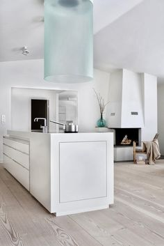 White Kitchen// love the glass hood//