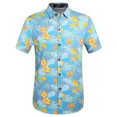 5326961b2 SSLR Men's Tropical Floral Cotton Hawaiian Shirt #men #hawaiian shirt  #tropical