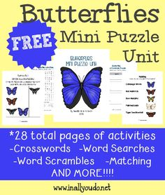 FREE Butterflies Mini Puzzle Unit
