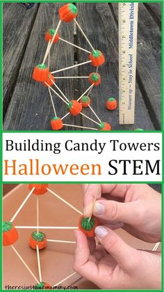 Looking for a fun Halloween-themed STEM activity to do at school or home? Check out these tips for building candy pumpkin towers! #HalloweenSTEMactivities #STEMactivitiesforkids #HalloweenSTEMchallenge Halloween Activities For Kids, Printable Activities For Kids, Kids Learning Activities, Creative Activities, Stem Activities, Monster Activities, Halloween Class Party, Halloween Candy, Easy Halloween