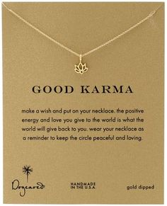 Dogeared Good Karma, Gold Happy Lotus Necklace $62 Brand, Seller, or Collection Name Dogeared Metal stamp 925 Sterling Metal Gold-plated silver Length 16 inches Chain Cable Clasp Spring ring Model number MRGG100422404