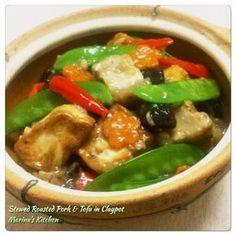 Stewed Roasted Pork & Tofu in Claypot – Marina's Kitchen Claypot Recipes, Tofu Recipes, Asian Recipes, Cooking Recipes, Chinese Recipes, Cooking Ideas, Pork Stew, Pork Roast, Asian Food Recipes