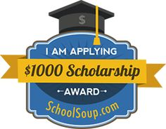 "Schoolsoup.com is pleased to announce a new $1,000 scholarship for college     students. ""I am Applying"" Scholarship applications are being accepted now. Just tell us a scholarship you have or     intend on applying for in the next year."