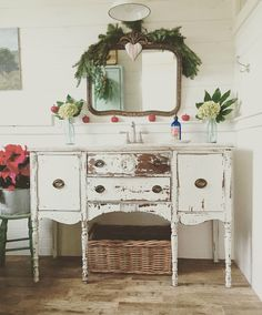 A Buffet Turned Bathroom Vanity Via D S Cottage And Design Bit More Christmas Around My House