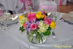 Spring centerpiece - bubble vase, roses, tulips, hydrangea, stock.  Katya Mischenko Custom Florals on Facebook