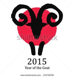 Traditional Chinese symbol of the New Year. Black and red goat or ram on red circle isolated on white background. Hand drawn grungy vector illustration of an astrological creature. - stock vector