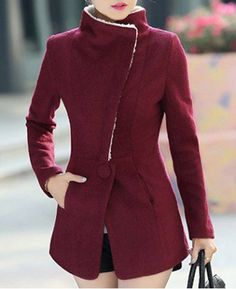 Stylish Stand Collar Long Sleeves Solid Color Zippered Woolen Coat For WomenCoats | http://RoseGal.com