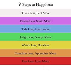 The 7 steps to happiness...good tools and ideas for inspired living. To create a better life (world), we must first change our level of consciousness.  To change consciousness, we must become the change we wish to see.    To create peace - we must find peace within ourselves, in doing so we become the kind of person who can live at peace with others.  To create love - we must find the source of light and love within our hearts and eliminate all that stands in the way of ...being loving.