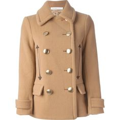 SACAI double breasted short coat ($905) ❤ liked on Polyvore featuring outerwear, coats, jackets, 2014, abrigo, long sleeve coat, wool blend coat, short double breasted coat, double-breasted coat and beige coat
