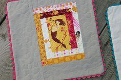 Mermaid Pillow by Fresh Lemons : Faith, via Flickr - Heather Ross log cabin style squares