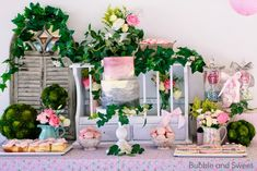 Sweet's gardening party with pink and grey party table