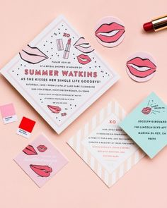 """With the inspiration for the shower being """"Summer kissing her single life goodbye,"""" stationer (and bridesmaid) Megan Gonzalez of MaeMae & Co. created a square-shaped invite with cheeky illustrations and a bit of a Warhol pop."""