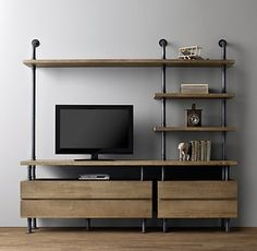 Industrial Pipe Media Shelving