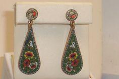 Vintage Signed Italian Micro Mosaic Elongated Dangle Screw Back Earrings