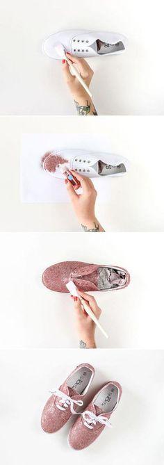 Pasos para hacer unas zapatillas de purpurina