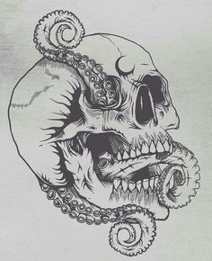 What Lies Beneath 🌙 Shirts of this artwork are now available, links in my bio if youre interested! Tentacle Tattoo, Octopus Tattoos, Skull Tattoos, Tattoo Sketches, Tattoo Drawings, Art Drawings, Octopus Drawing, Octopus Artwork, Sea Tattoo