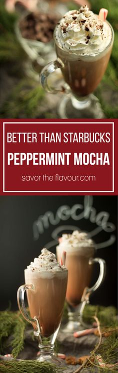 This easy recipe for the Better than Starbucks peppermint mocha is sure to satisfy your craving for coffee-flavored holiday drinks this Christmas season.  Serve with candy canes and whipped cream for a special treat.  This easy recipe can be made in 35 minutes and tastes even better than Starbucks!  Get the recipe from Savor the Flavour.