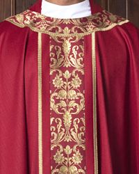 The Holy Rood Guild > Chasubles & Copes > Gwynedd Chasuble: red liturgical vestment for priest or deacon Priest, Knitting, Red, Tricot, Breien, Stricken, Weaving, Knits, Crocheting